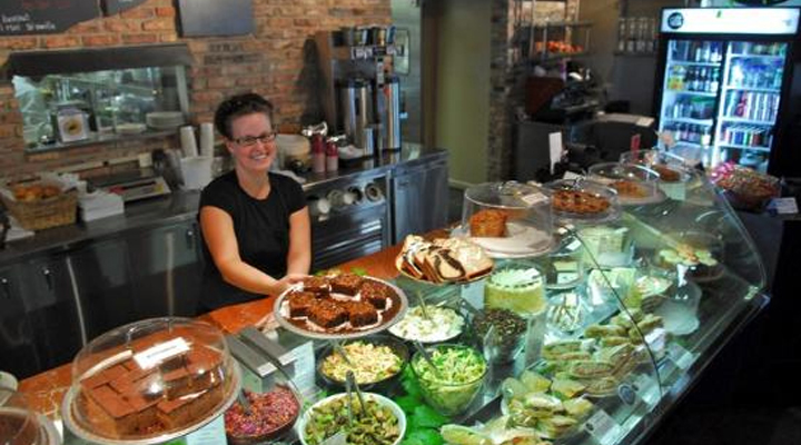 Server behind the counter at Cafe 1505 in Mequon, WI