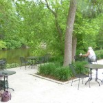 View of Fiddlehead's back patio, just feet away from the Milwaukee River