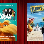 Movie posters of The Lorax and Surf's Up side-by-side overlaid on a movie curtain