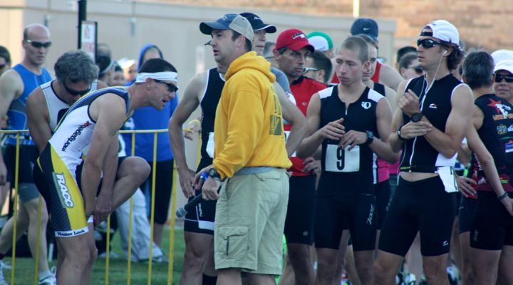Racers gathering before the start of the Shoreline Duathlon at Concordia University in Mequon, Wisconsin