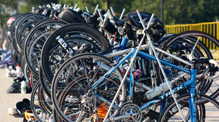 Racers' bikes ready and waiting at the transition during the Shoreline Duathlon 2013