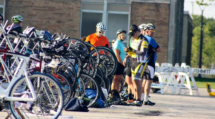 Racers at the bike transition