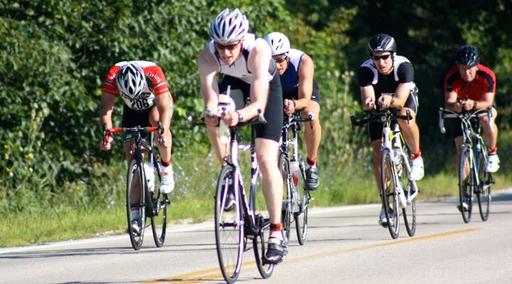 Bike racers in a group during Shoreline Duathlon 2013 in Mequon, Wisconsin