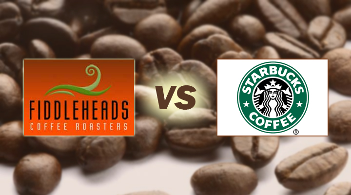 Logos of Fiddleheads and Starbuck on a background of coffee beans